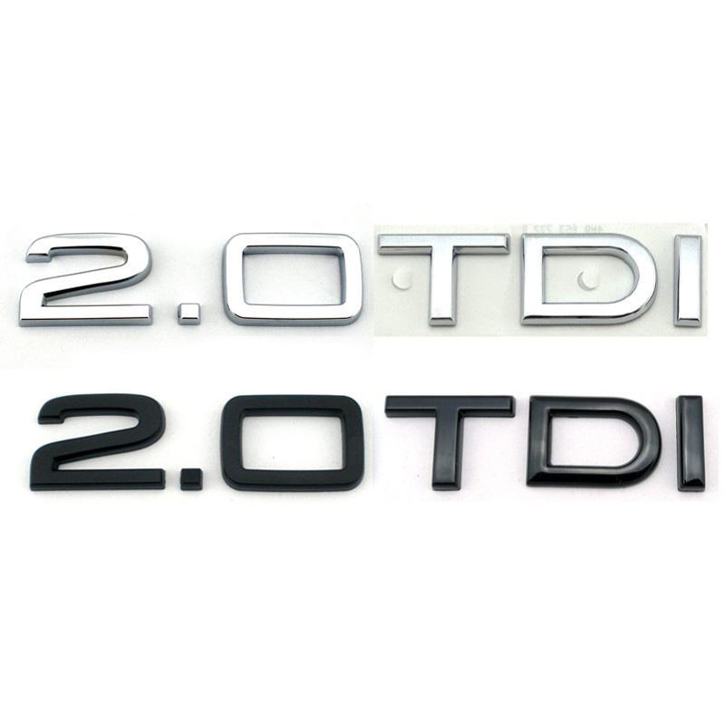 Plastik Parlak Siyah Otomatik Arka Logosu 2.0 TTDI Krom Rozeti Araba Amblem Çıkartması Sticker A3 A4S4 A5S5 A6 A7 A8 Q5 Q7