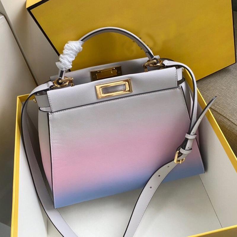 Gradient Color Handbag Purse Genuine Leather Designers Tote Bag Women Package shopping Bags adjustable Detachable Shouler Strap Bag Pouch