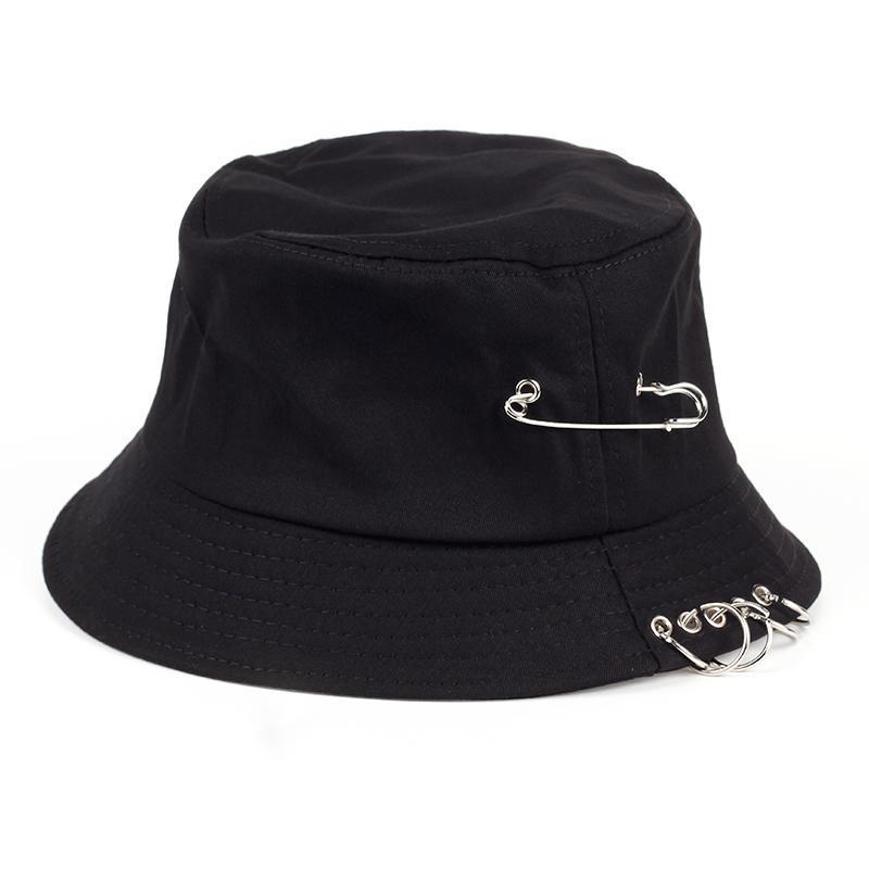 Voron anneaux broches de fer couleur solide personnalité casquette Chapeau pour les hommes femmes unisexe chapeaux de pêcheurs coton usine vend directement