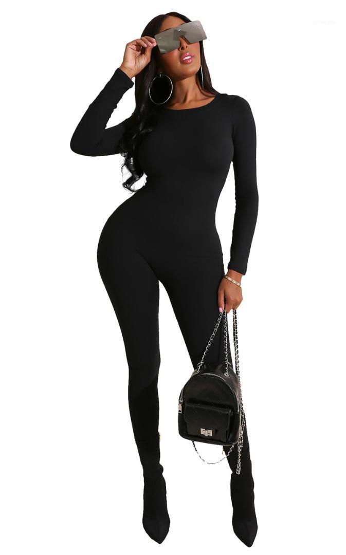 Комбинезоны моды длинные рукава длинные брюки женские комбинезоны вскользь ночной клуб стиль женщин одежда женщин сплошной цвет