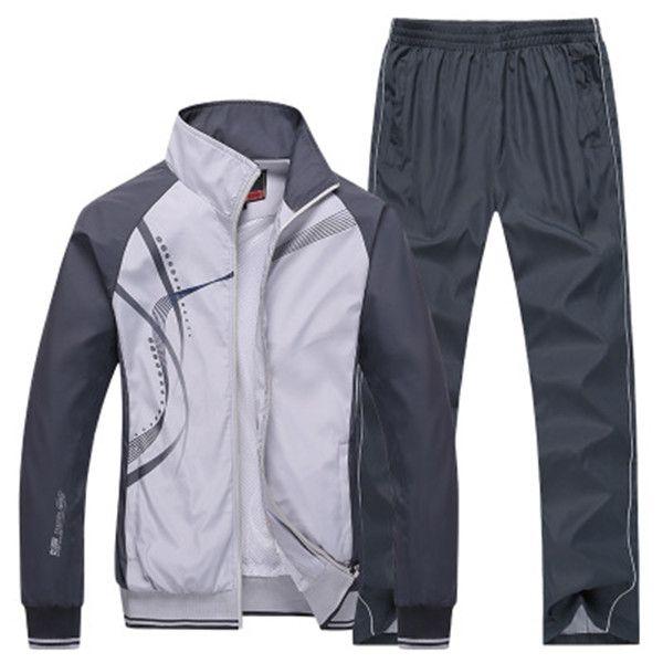 남성 스포츠는 체육관을 실행 2 조각 스포츠 정장 재킷 + 바지 운동복 봄 가을 남성 인쇄 의류 운동복 크기 L-5XL을 설정합니다