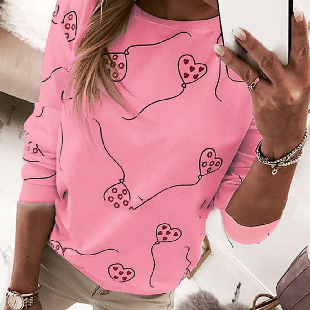 T-shirt à manches longues à manches longues à manches longues T-shirt de la Saint-Valentin T-shirt de la Saint-Valentin Casual Lock Plus Taille Tee-shirt à rayures