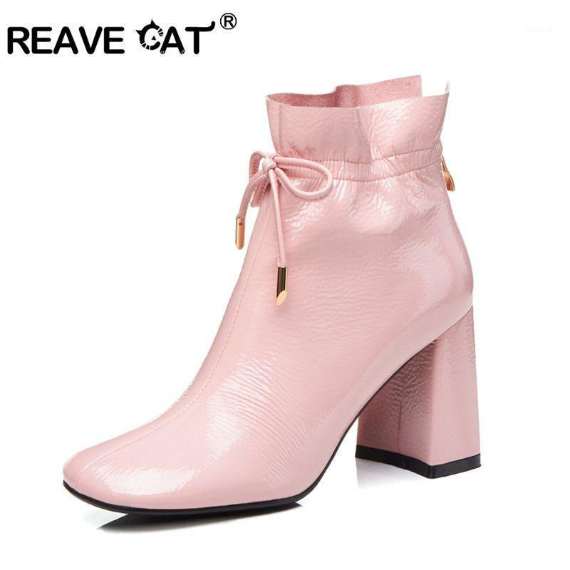 Boots REAVE CAT Ankle Lace Up Block Squre Mid Thick Heel Square Toe Patent Leather Big Size US10 Dress Spring Black Pink A14361