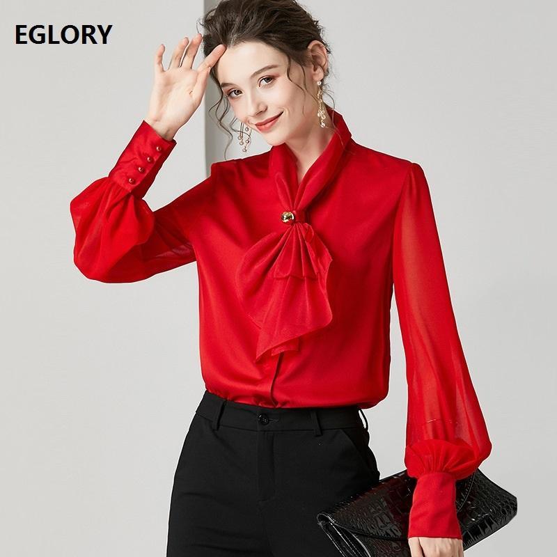 Papillon Eleganti camicette 2020 chiffon di seta Bianco Rosa Primavera Estate Donna Rossa di alta qualità camicetta lavoro femminile Solid