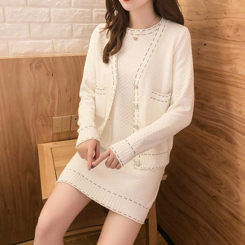 D7t3O Xiaoxiangfeng early autumn 8197 new celebrity temperament jacket jacketlong sleeve knitted jacket junior two dress piece set 2020 tsv35