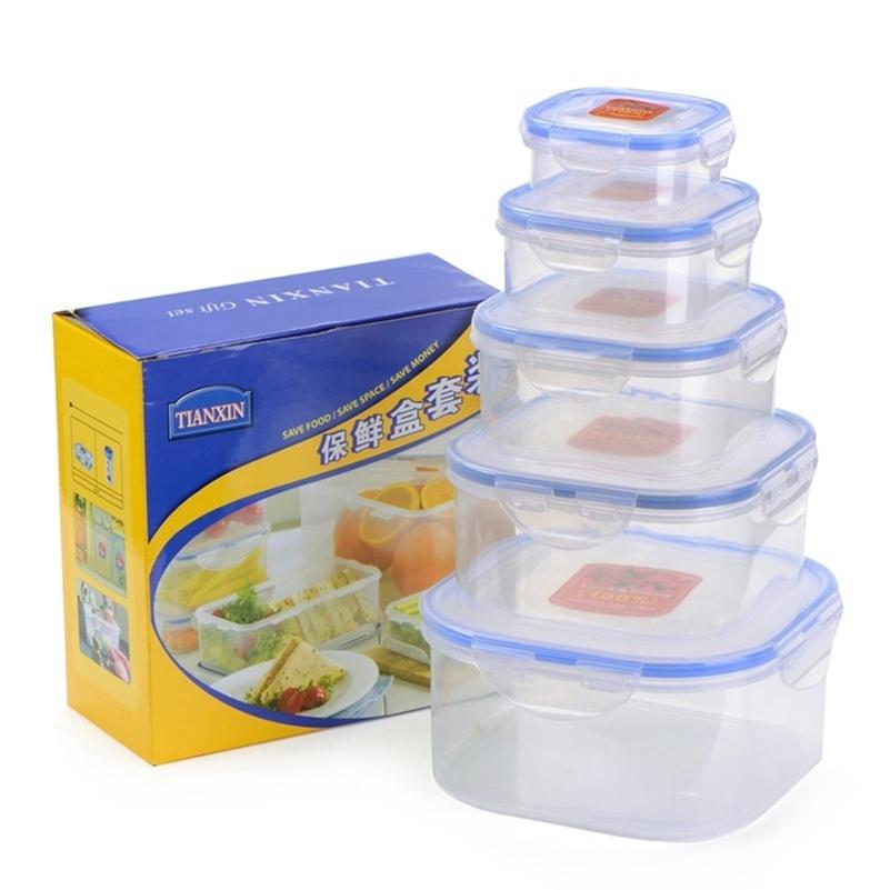 Kitchen Plastic Microwave Food Box Set Transparent Food Container Refrigerator Fresh Keeping Storage Box Portable Lunch Box T200709