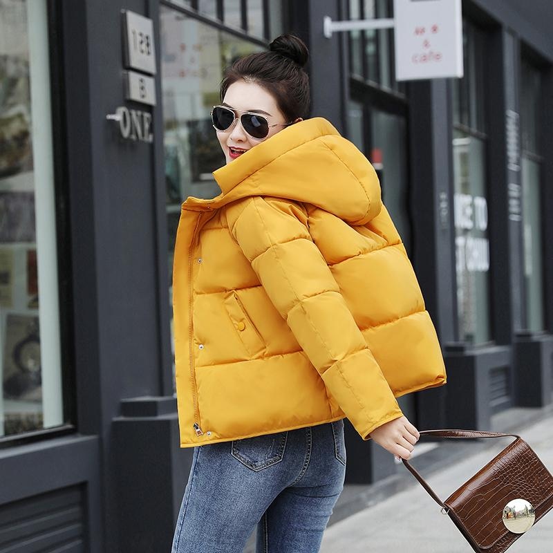 New Arrival Winter Short Parka Women Solid Loose Jacket Coats Plus Size Cotton Pdded Hooded Thick Outwear Chaquetas Mujer 210203