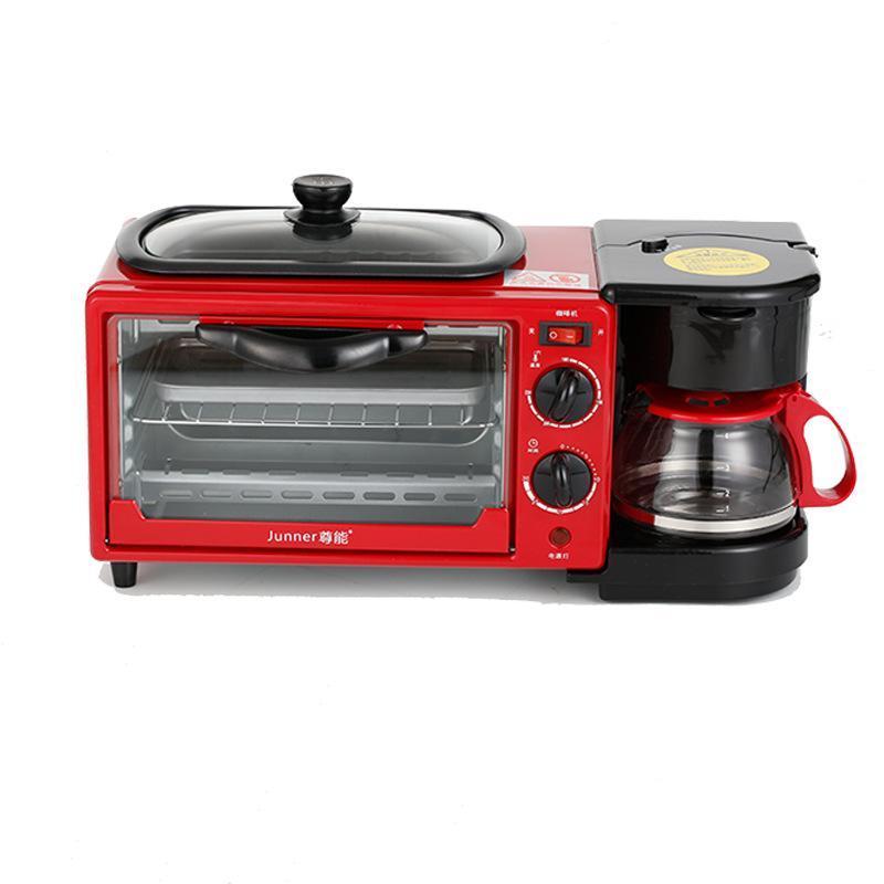Kahve Omlet 4L 1050 W Ev Çok Fonksiyonlu Kahvaltı Makinesi Mini Elektrikli Fırın Ekmek Ekmek Kızartma Tavası Dahili