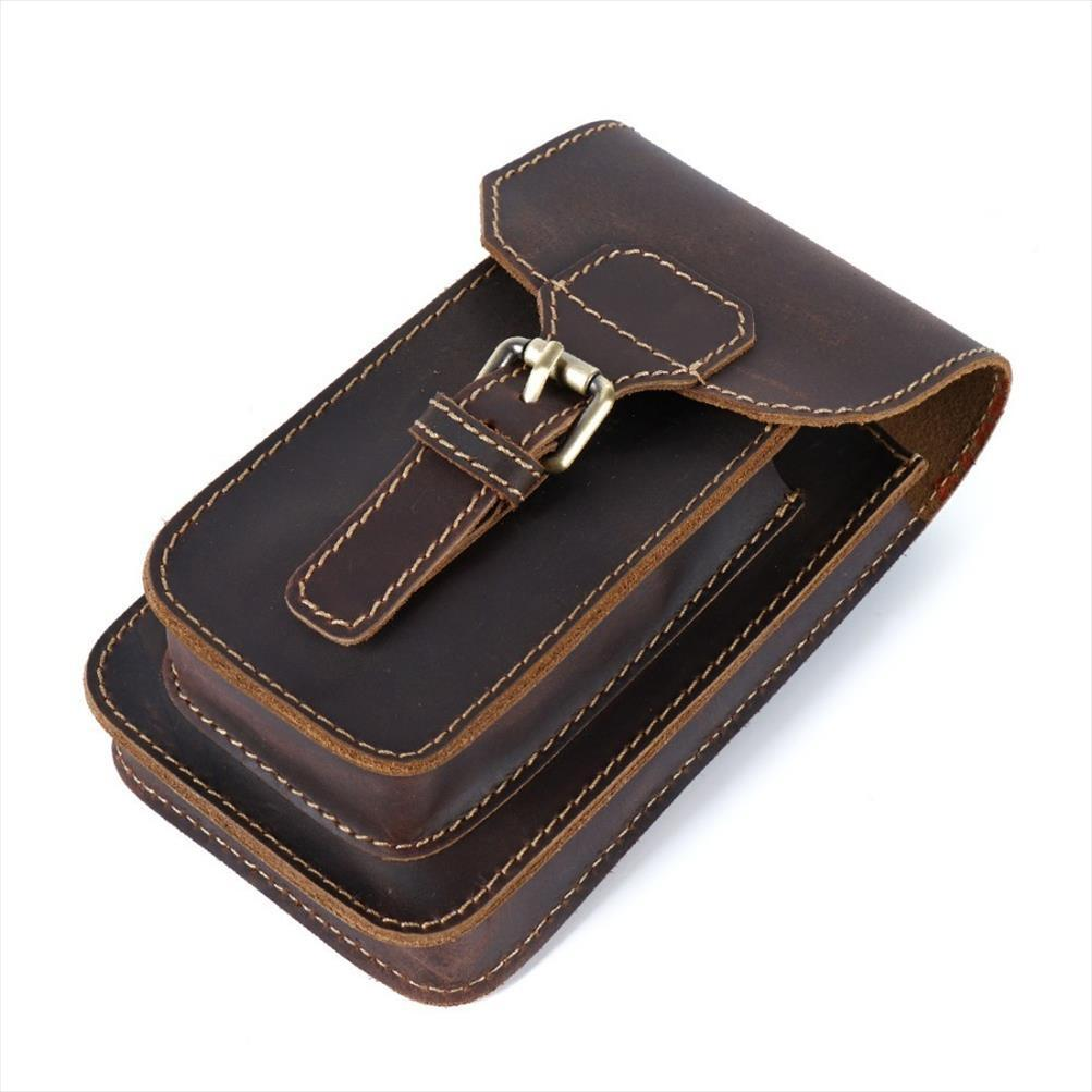 Moterm Genuine Leather Waist Bag Small Hook Fanny Pack Pouch Bag for Men Vintage Travel Waist Pack Male Small