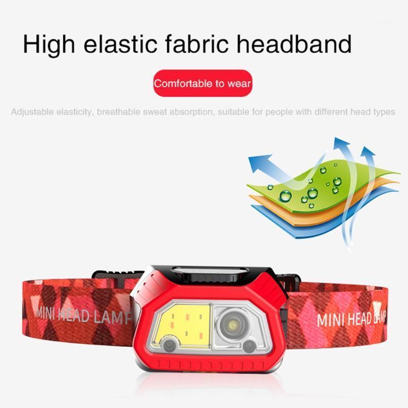 Mini Açık Farlar LED Indüksiyon Küçük Far Reacargable Lamba Işık Kafa Monte ABS HS-T091 Gece Balıkçılık Farlar1