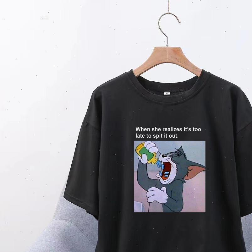 Spoof аниме забавная кошка печать женские футболки Harajuku женщин повседневная короткая рукава o шеи свободные футболки женская одежда