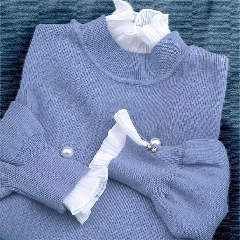 Novas Mulheres Sweater Moda Outono Inverno Pérolas de Manga Longa Patchwork Chiffon Malha Senhoras Puxe Pullover Camisola Tops 201222