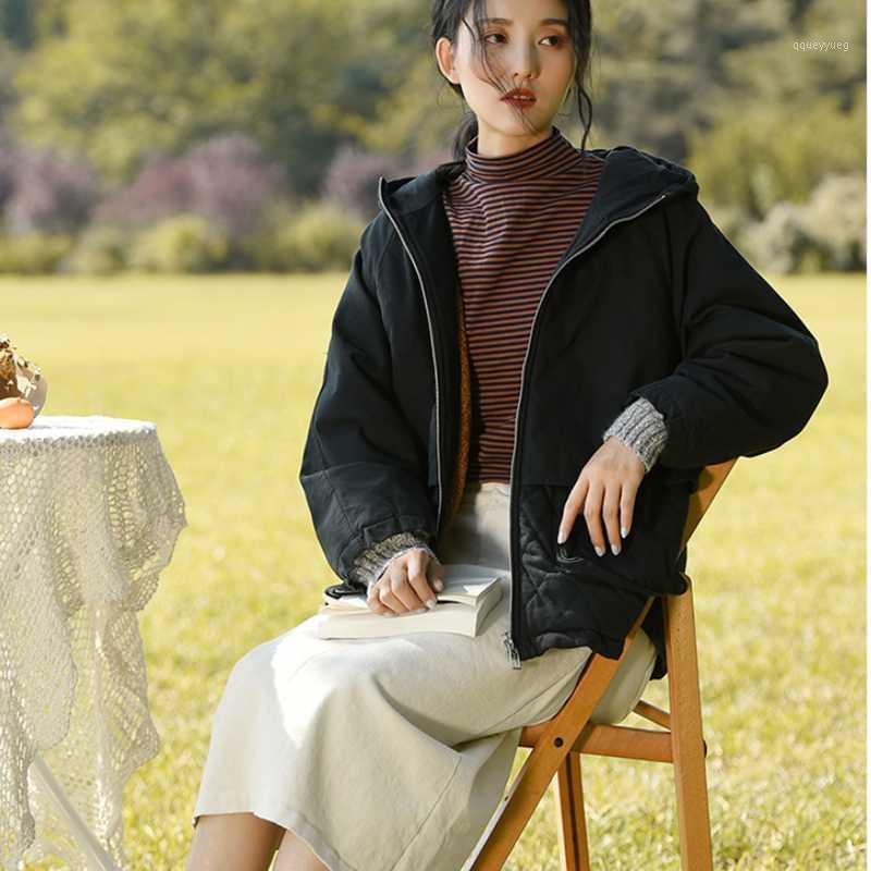2021 New Winter Women's Fashion Casual Jacket Women's Slim Thick Warm Jacket Zipper Elegant with Hat1