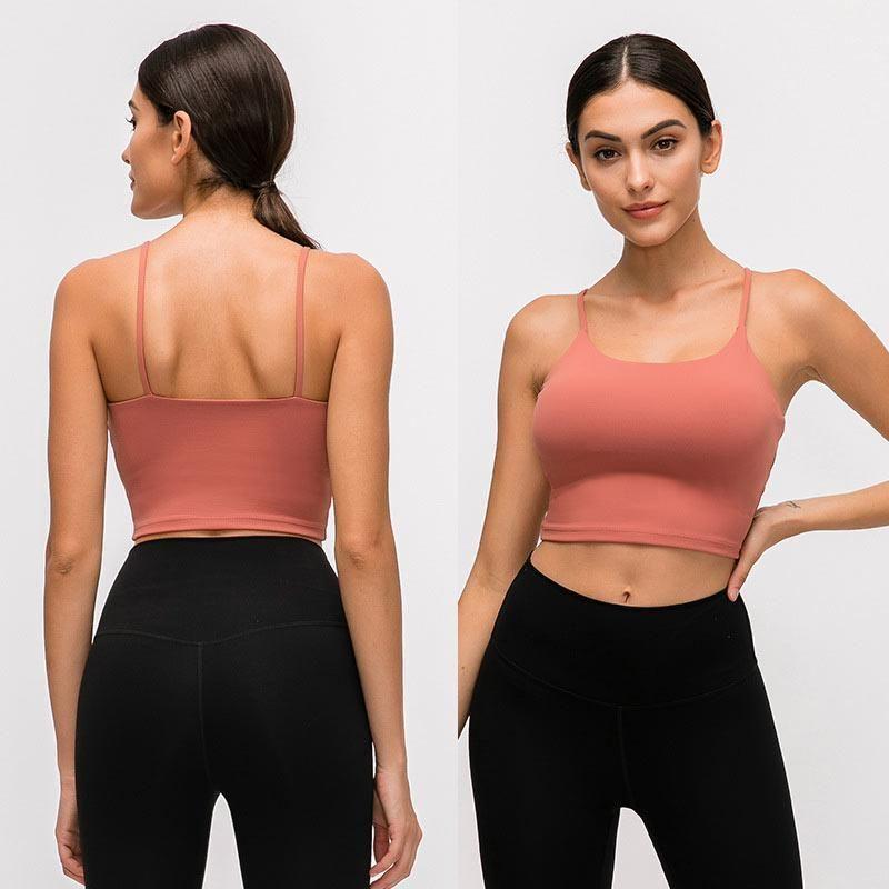 Nova cores multi-seleção Hot Selling cor sólida Feminino Bra Yoga shirt do esporte de alças Academia Top Sexy roupas íntimas femininas Top Yoga fitness S
