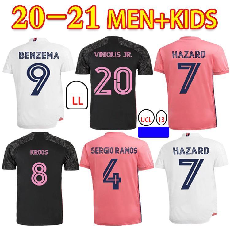 20 21 كرة القدم شير رونالدو بيل سيرجيو راموس مارسيلو بنزيما خطر 2020 2021 عالية الجودة الكبار + أطفال كيت كرة القدم جيرسي