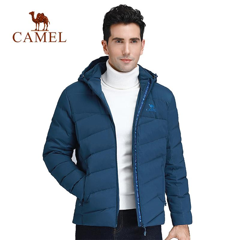 CAMEL Men Winter Outdoor Down Jacket Light Hooded Warm Soft Warm Lightweight Anti-wrinkle Down Jacket with 90% White Duck Down 201022