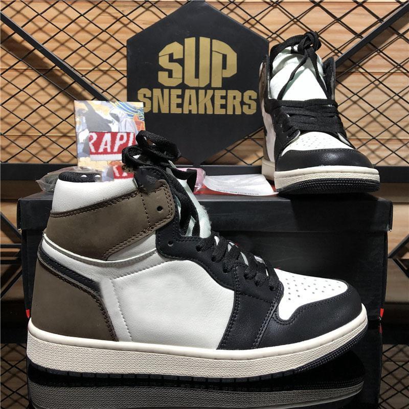 최고 품질의 jumpman 1 1s 높은 트래비스 스콧 두려움없는 흑요석 UNC 남성 여성 농구 신발 금지 된 자란 발가락 시카고 남자 스포츠 신발