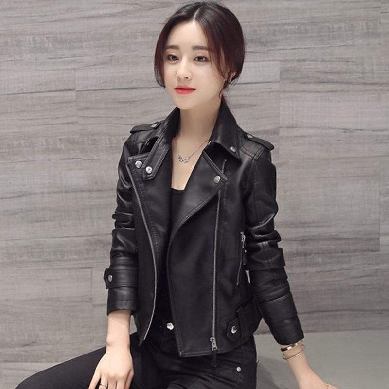 Women Motocycle Autumn Leather Jacket Black Turn-down Collar Female Pu Outwear Coat Classical Slim 201029