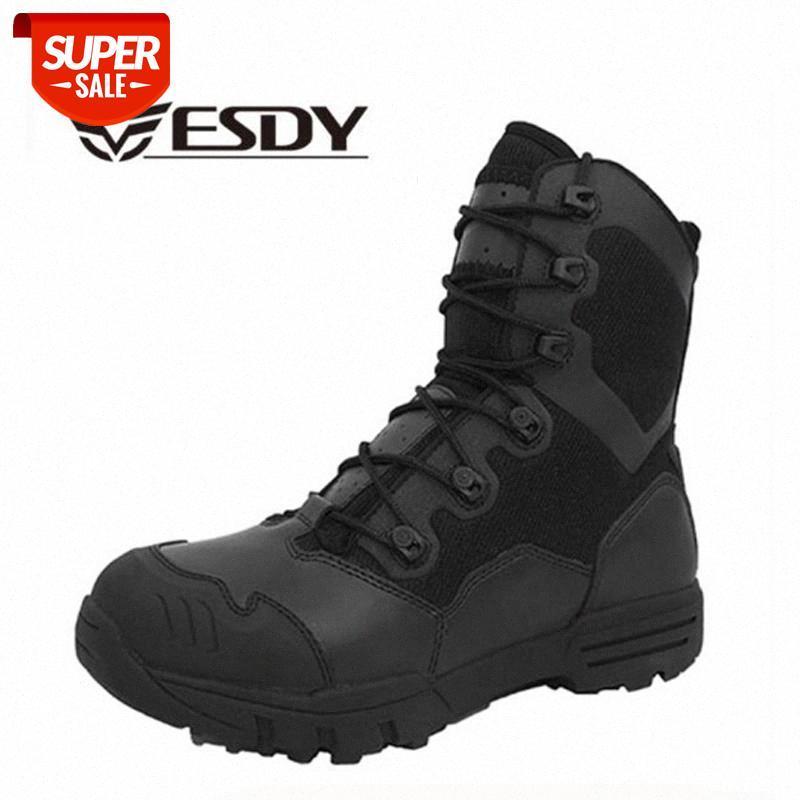 Invierno Hombres Botas militares Cuero Fuerza Especial Fuerza Desierto Tactical Combate Armarios Botas de Ejército Safty Shoes # PY5Q