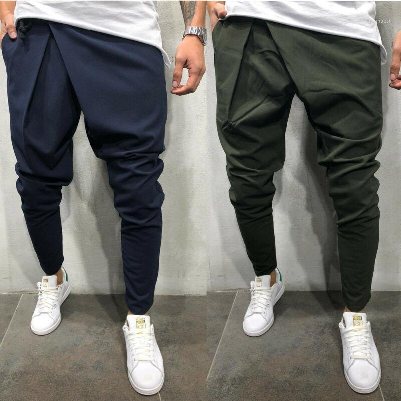 Trendy Männer Massive Farbe Kordelzug Kausal Lose Harem Hosen Bleistifthose Männer coole asymmetrische Taille Piratenkleidung Pant1