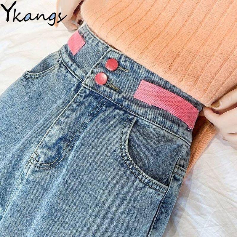 Kadın Yüksek Bel Pembe Kemer Kot Anne Muz Jeans Harem Pantolon 2020 Kadın Gevşek Geniş Bacak Ayak bileği uzunluğu Pantolon Streetwear A1112 Ripped