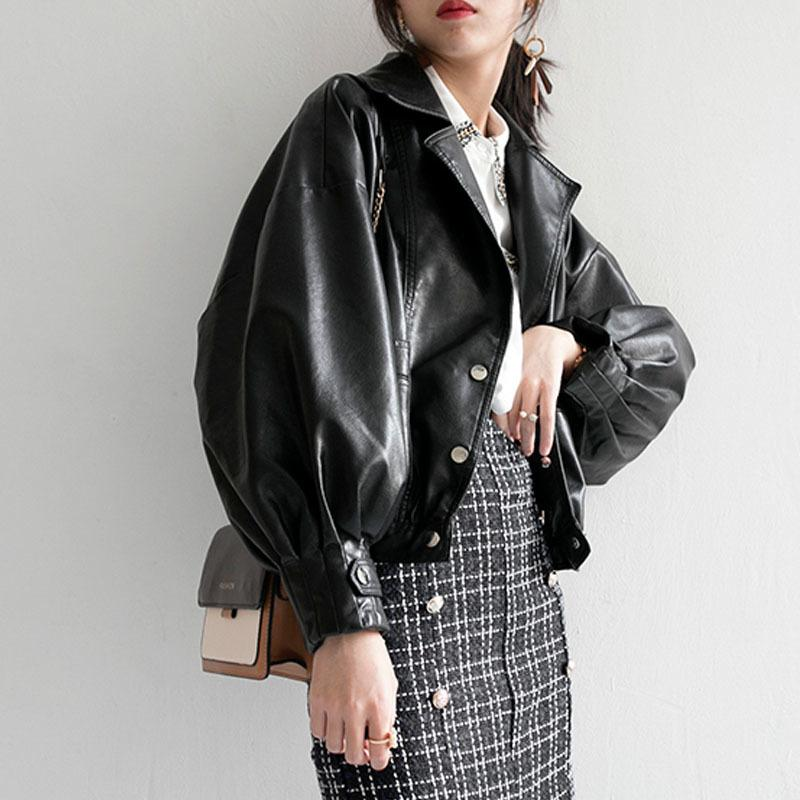 Autumn Women Faux Leather Jacket Fashion Loose Soft Pu Motorcycle Punk Leather Biker Coat For Female Outwear 201016