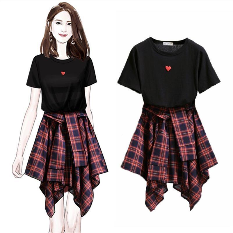 ICHOIX 2 Piece Skirt Set T Shirt Tops and Skirt Set Estilo Coreano 2 Peça Outfits Girl Student Terno Mulheres Roupas