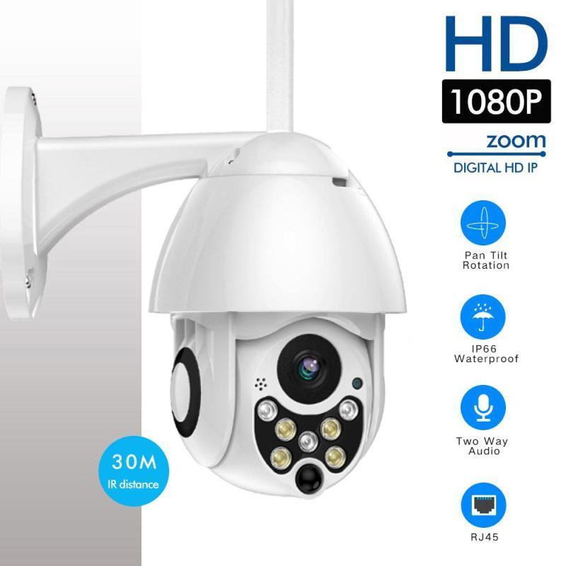 1080p 7LED PTZ Mini WiFi Outdoor Dome Home Security IP-Kamera Wireless HD 2MP CCTV ONVIF Wasserdichte Nachtsicht mit TF-Karte