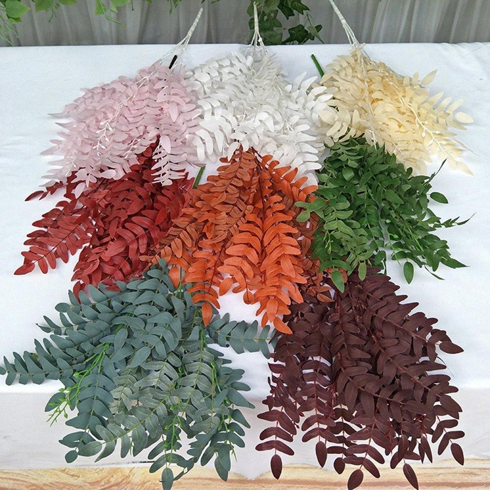 Искусственные листья эвкалипта букет поддельных для Главная Новогоднее украшение свадьбы jugle партия винограда лже листва растений венок 7ncL #