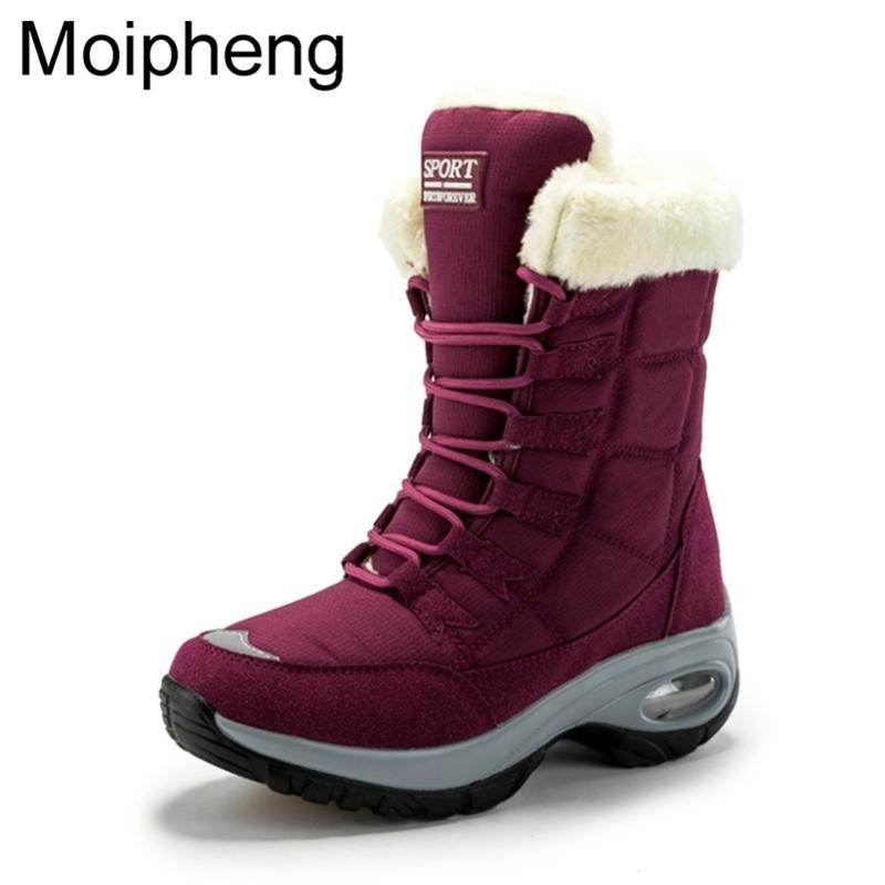 Moipheng Женщины зима хранят теплое качество средние тележки снежные сапоги дамы на шнуровке Удобные водонепроницаемые пинетки Chaussures Femme Y200915