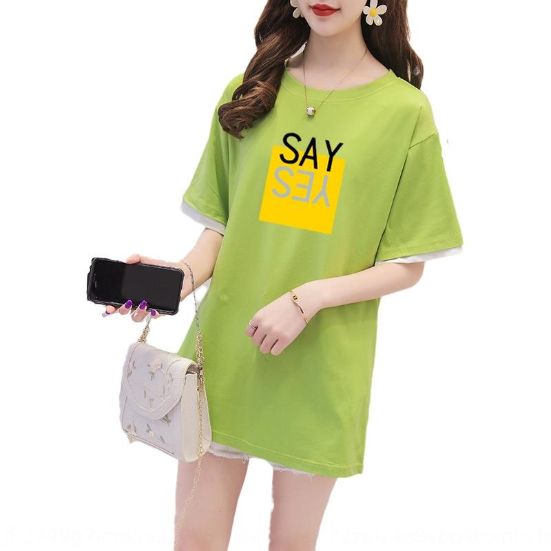 Verão 2020 médio de manga curta e longa carta impressa solta grandes coreano T-shirt T-shirt da forma das mulheres ins moda feminina oYuVn