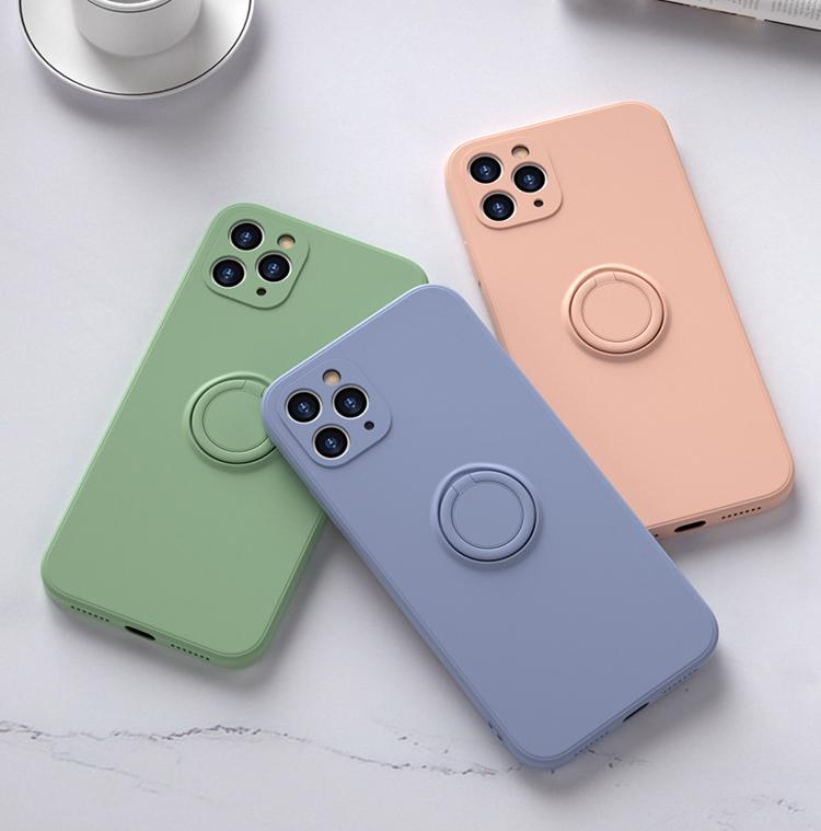 Liquid Silicone Phone Case For iphone 11 Pro Max XS XR X 8 7 Plus Case With Finger Ring Buckle Shockproof Armor Cover