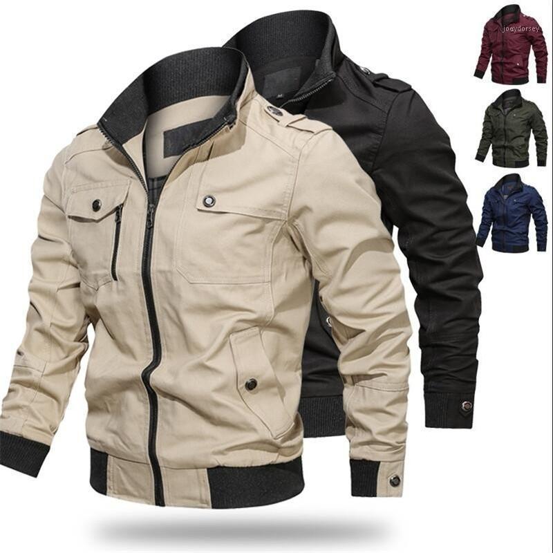 2020New Spring Men Куртка мужская повседневная бомбардировщик полета куртки осенние пилотные пальто армии зеленые грузовые куртки1