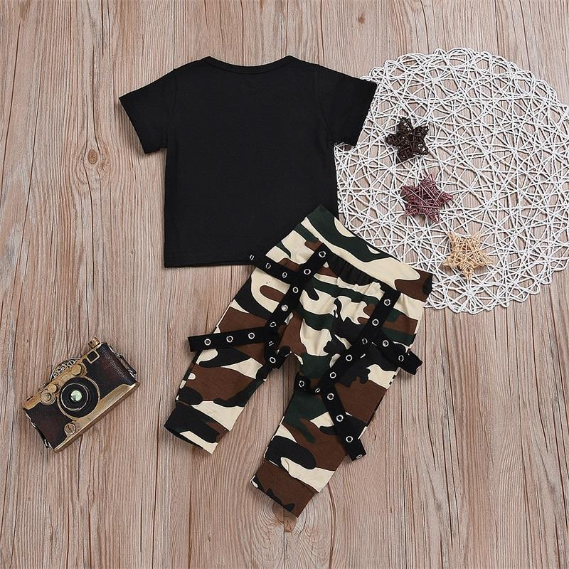 2 Pieces Set Baby Clothing Man Kids Fashion Black Letter T-Shirt Camouflage Pants Clothes Suit Summer Christmas 25mh K2