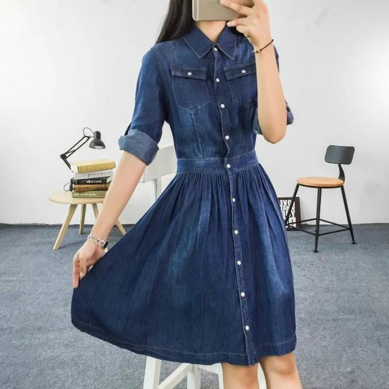 Повседневные платья 2021 Прибытие Высокое Качество Плюс Размер Женская Одежда Женская Мода 4XL Синее Джинсовое Платье Элегантные Тонкие джинсы