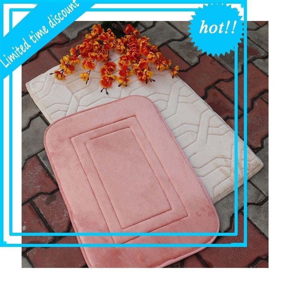 Memory Foam Set of 2 Soft Bathroom Mats Anti Slip Bath Rug Sets Comfortable Super water Absorption Machine Wash