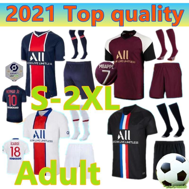 2020 2021 Adulto casa longe kit Jersey 20 21 Mbappé Verratti CAVANI DI MARIA MAILLOT DE PÉ terceiro camisa de futebol uniformes S-2XL