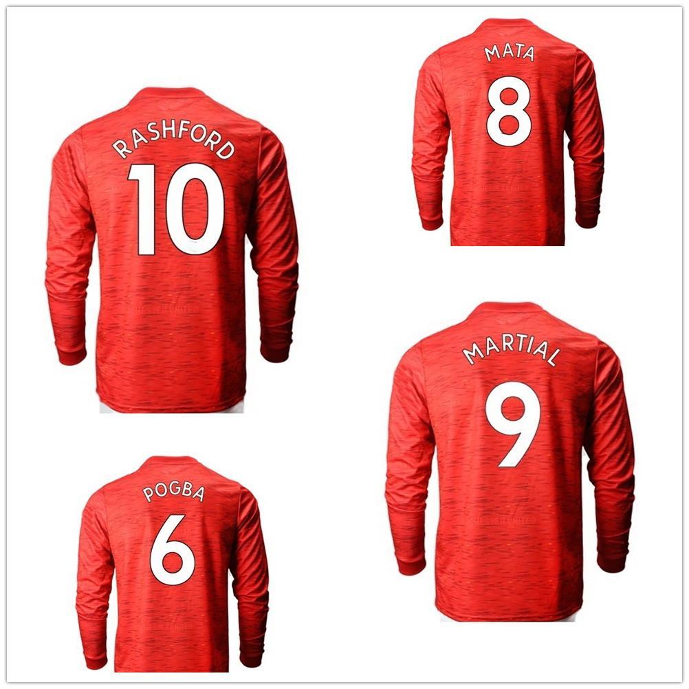 20-21 Uzun Kollu Ev 18 B.Fernandes Rashford 10 Tay Kaliteli Futbol Formaları Gömlek Özelleştirilmiş Erkekler 9 Martial 21 5 Maguire Futbol Giyim