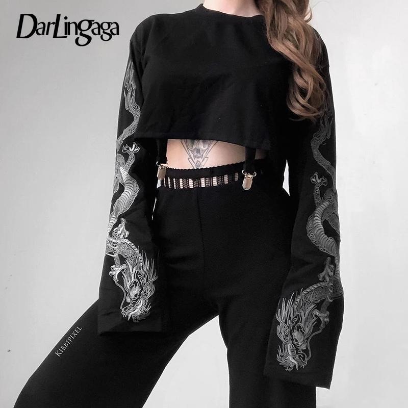 Darlingaga Streetwear Dragon Print Automne Sweatshirts à manches longues Pull à manches longues Noir Crop Top Hoodie Sweat-shirt Femme Y200917