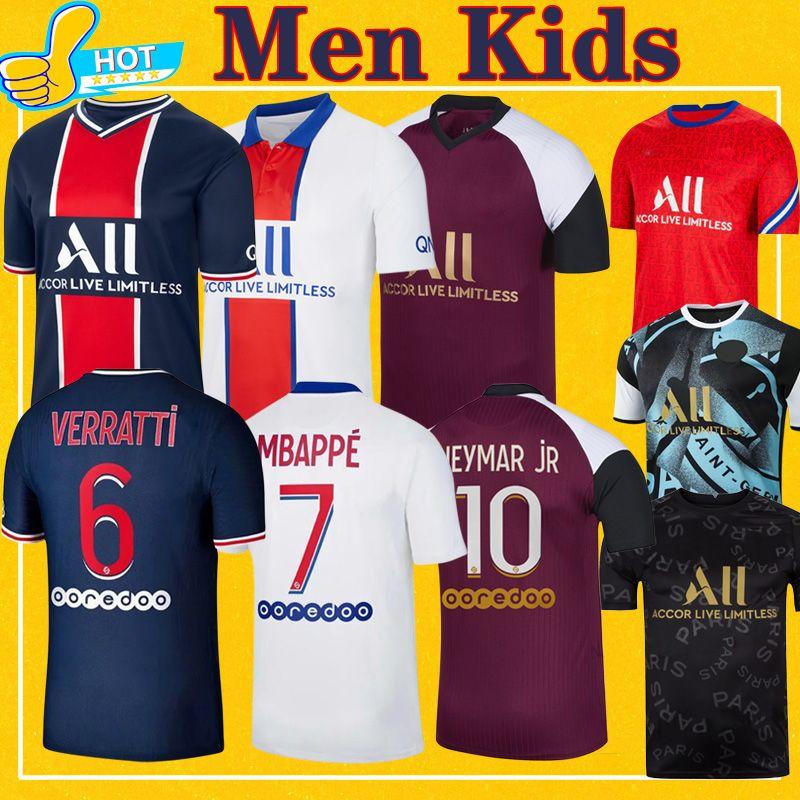 Maillot PSG Jersey 2021 Şampiyonu psg Futbol Forma MBAPPE Icardi GANA Verratti 20 21 Futbol Gömlek Erkek Çocuk Seti maillot de foot