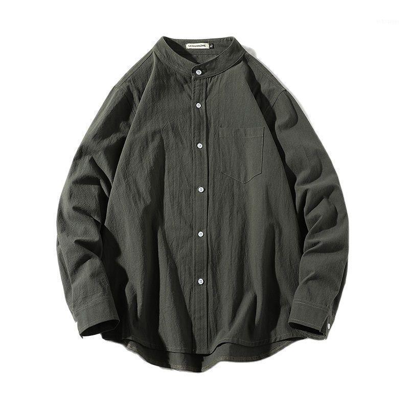 Camisa de algodón de manga larga de estilo casual de moda para hombre de primavera 2021 All-Match Harajuku Estilo Color sólido Nueva herramienta Camisa de herramientas1
