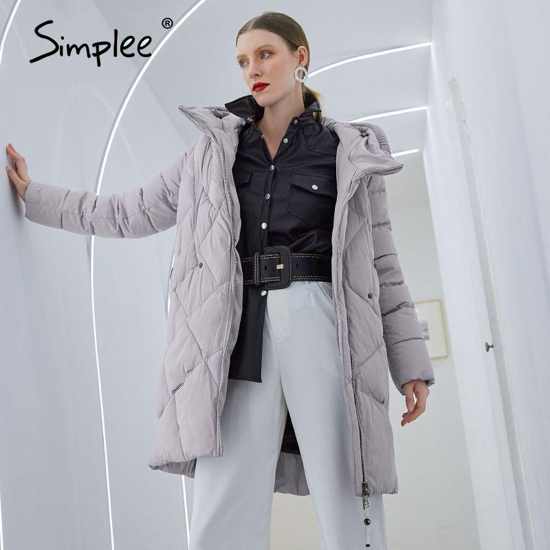 Simplee Warm elegant knitted collar women coat jacket Casual pocket parka Fashion long female winter windproof jacket light grey 210203
