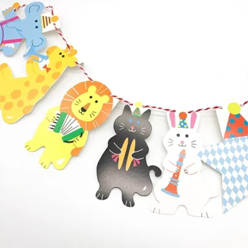 سحب العلم حفل الأطفال غرفة عيد ميلاد سعيد تزيين راية الغابة الحيوان الأسد الفيل الصالون مصنع بيع مباشرة 1 6SH P1