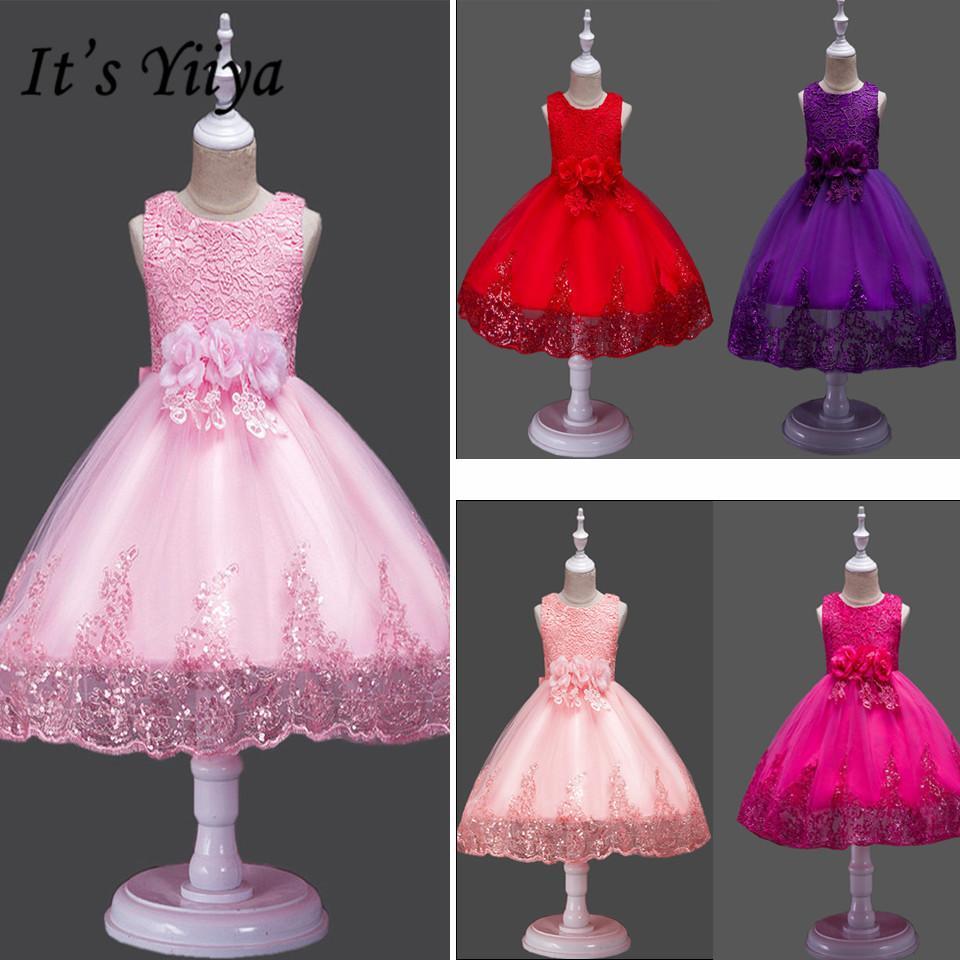 Es ist Yiiya Flower Girl Kleid Bogen Spitze Erste Kommunion Kleider für Mädchen Elegant Sleeveless Pailletten Weihnachtskugelkleider 575 T200117