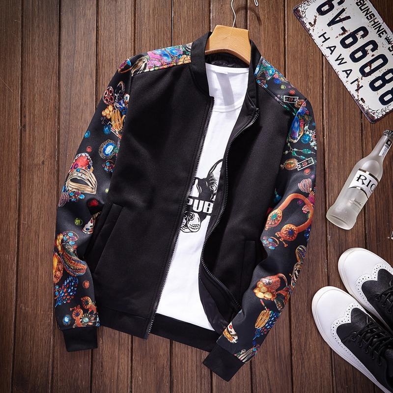 Thoshine Brand Primavera Autunno Uomini Sottile Giacche stampate Tasche Slim Fit Modello maschile Giacca Teen Capispalla Gioventù leggera Cappotto leggero1