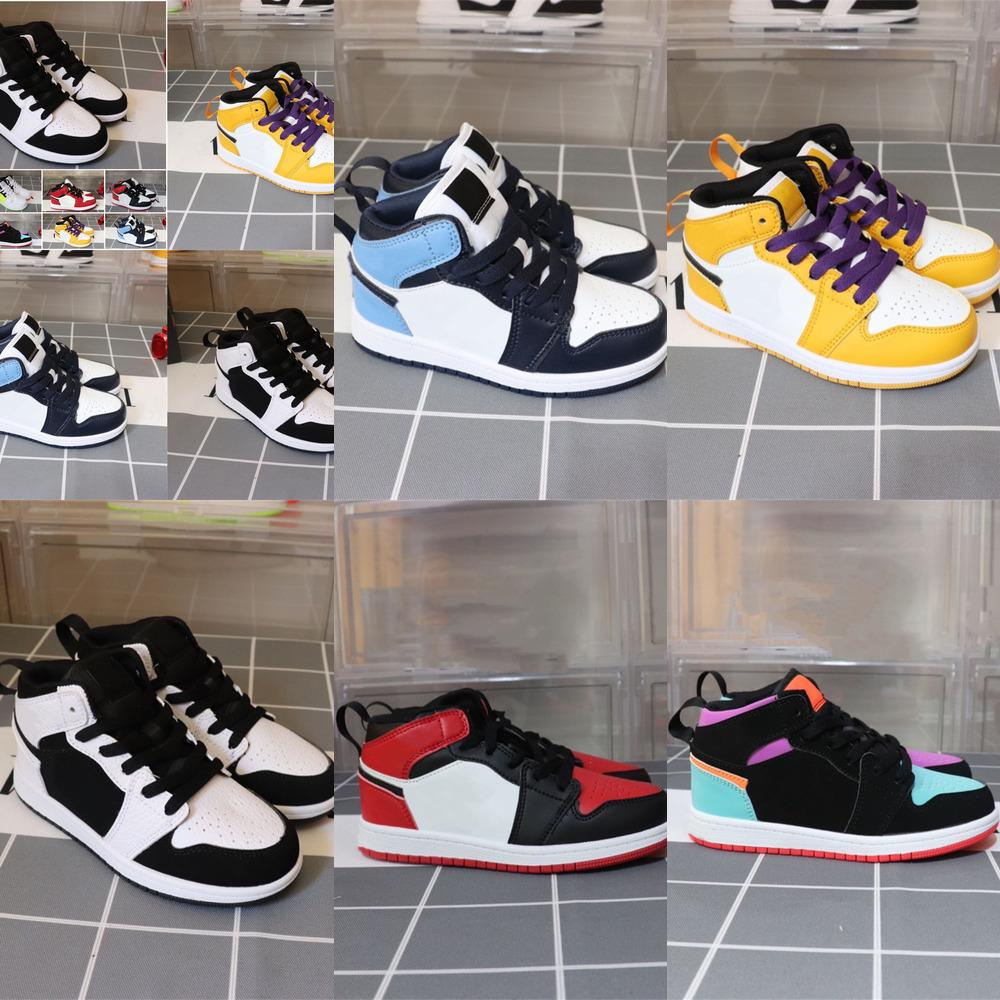 scarpe di vendita caldi bambini OG 1 1s scarpe da basket Bambini Boy Girl 1 Hot 3 Bred Nero Rosso Bianco Sneakers Taglia 26-35 Z803
