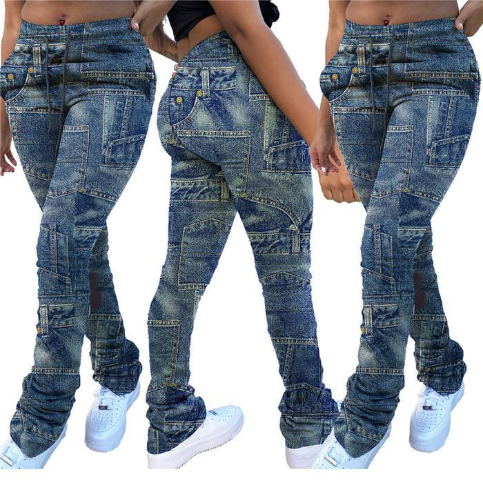De talle alto para mujer Stacked Legging pantalones como dril de algodón ocasional del remiendo del lazo de la llamarada pantalones de la manera delgada del otoño apiladas pantalones para las mujeres