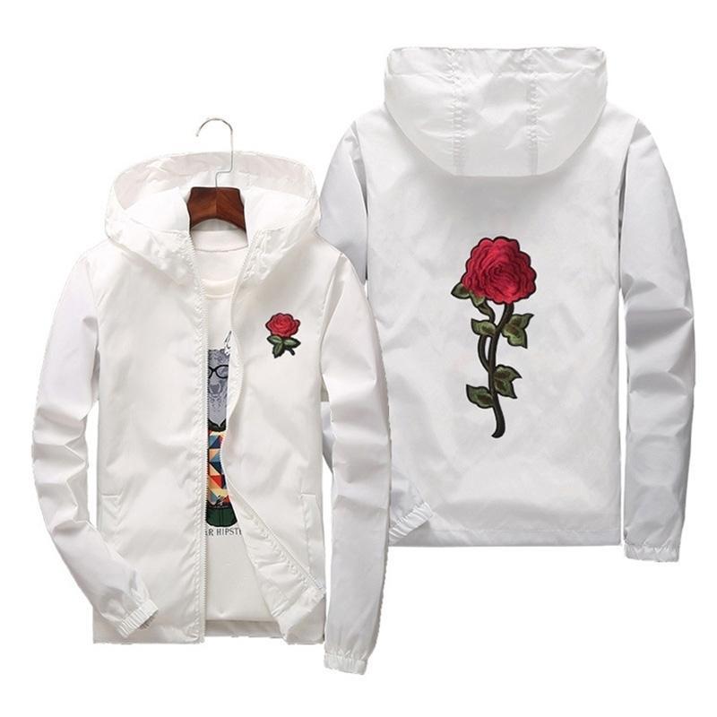 Frauen Grundlegende Jacken Frühling Frauen Kapuzenjacke Mäntel Stickerei Rose verursachender Mann Windjacke Leichte Bomber Famale Weiß 201013