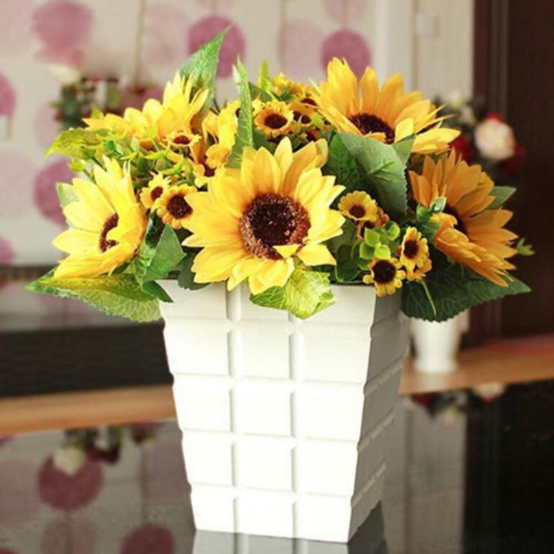 Fake Silk Artificial 7 Heads Sunflower Flower Bouquet Garden Party Home Decor UK