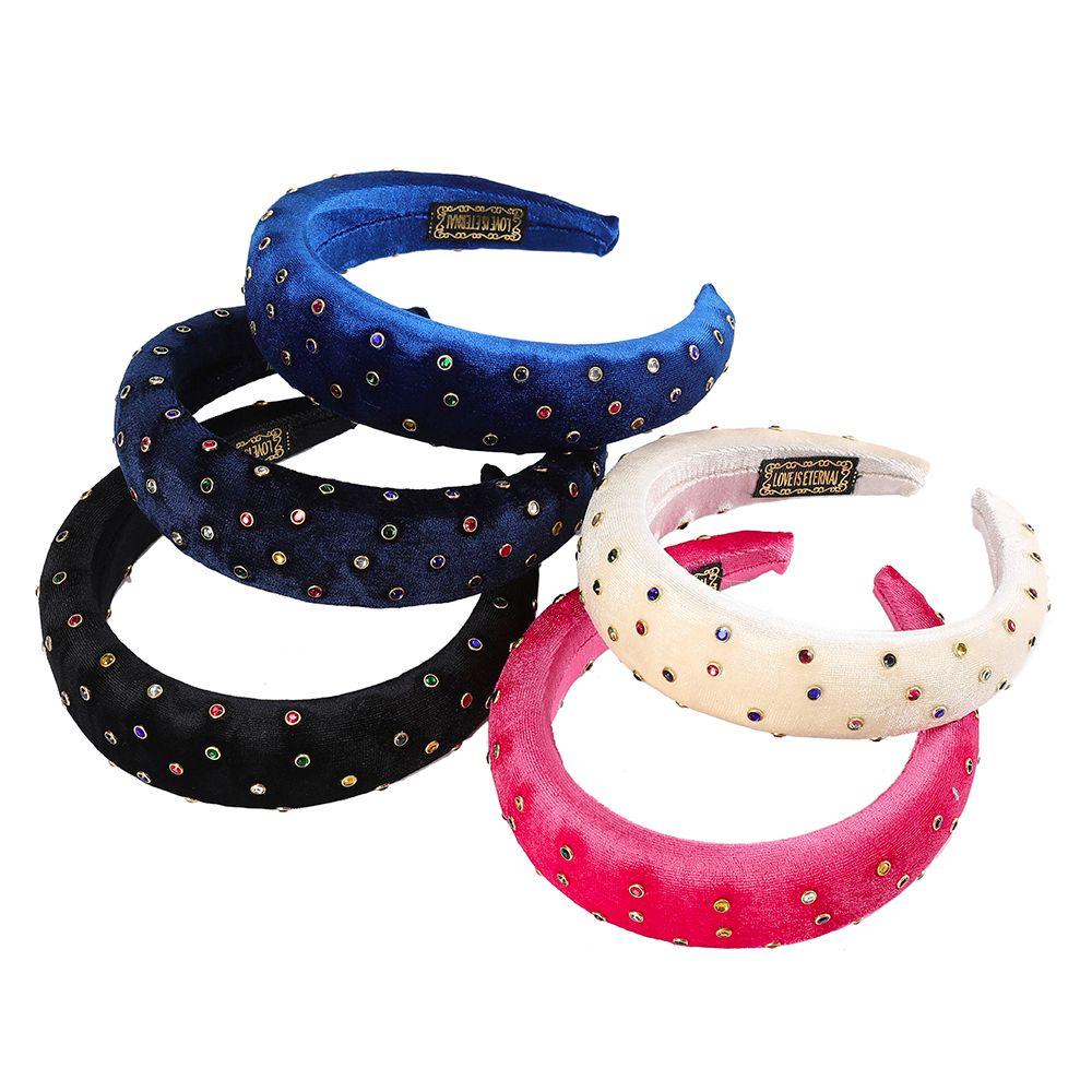 Diadema acolchada para mujeres franela Hairbands con pequeñas cuentas de cristal coloridas Accesorios de pelo espesado esponjado